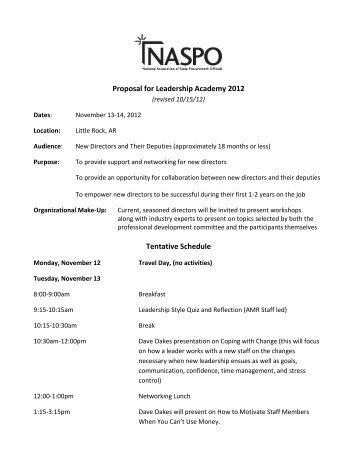 Proposal for Leadership Academy 2012 Tentative Schedule - naspo