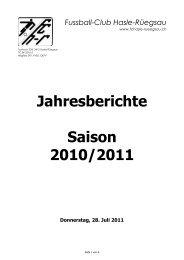 Jahresberichte Saison 2010/2011 - FC Hasle-Rüegsau