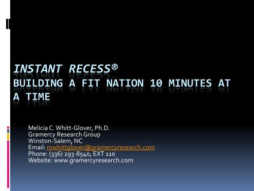 Dr. Whitt-Glover's Presentation