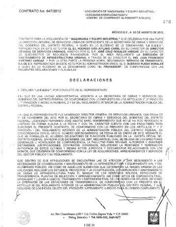 CONTRATO No. 047/2012 - Secretaria de Obras y Servicios