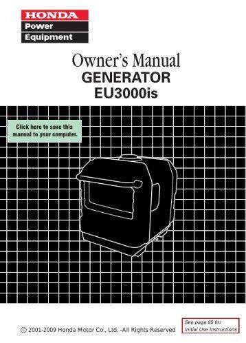 Honda EU3000is Generator Owner's Manual - Geotech ...