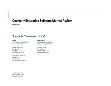 2012 Q4 Quarterly Software Market Review - Shea & Company