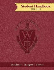 Student Handbook - Walsh University