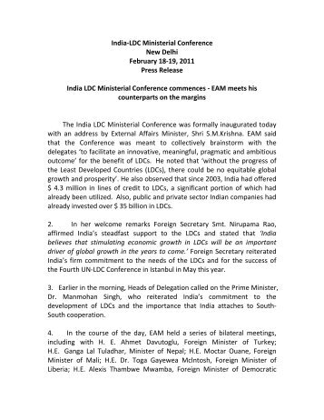 India-LDC Conference Press Release February 18 ... - India-ldc.nic.in