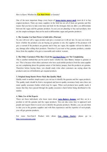 How to Know Whether the Car Start Power is Genuine?.pdf