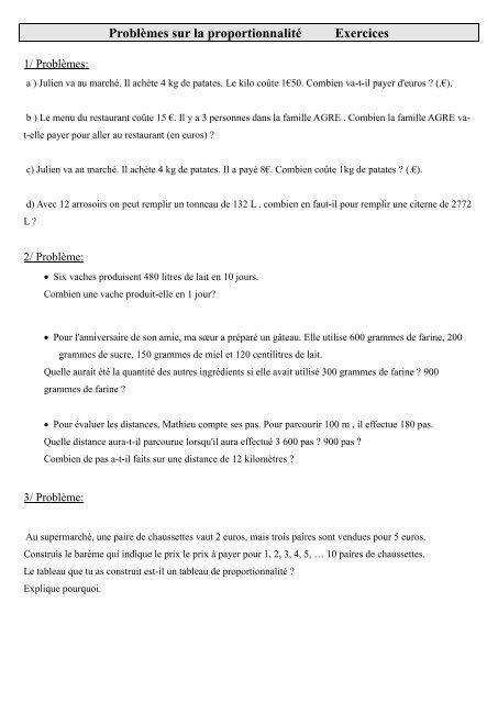 Probla Mes Sur La Proportionnalita C Exercices Pass Education