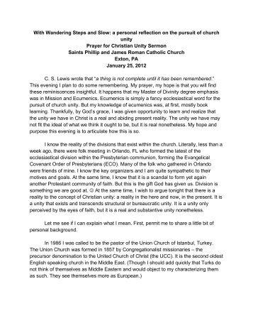 Prayer for Christian Unity Sermon - Fairview Presbyterian Church
