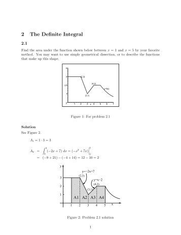 Page 1 2 The Definite Integral 2.1 Find the area under the function ...