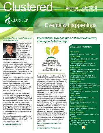 July 2010 Update - Greater Peterborough Innovation Cluster