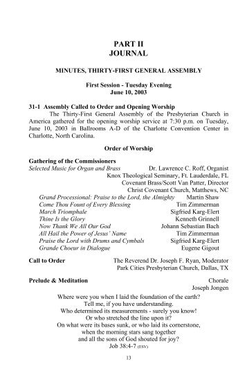Minutes of the Thirty-First General Assembly of - PCA Historical Center
