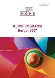 KURSPROGRAMM Herbst 2007 - VHS Horn