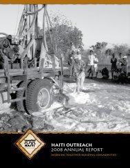 HAITI OUTREACH 2008 ANNUAL REPORT