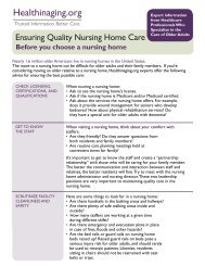 Finding Quality Nursing Home Care - Health in Aging