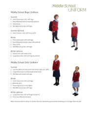 Middle School Uniform Guide (PDF) - Billanook College