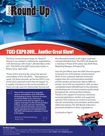TCEI-EXPO 2011... Another Great Show! - Texas Communications ...