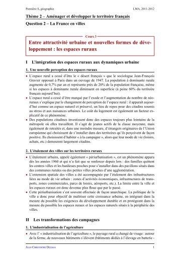 Les espaces ruraux - Lyceedadultes.fr