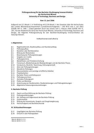 1 pr fungsordnung f r den bachelor studiengang for Innenarchitektur wismar