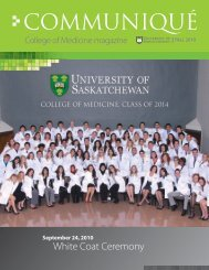 COMMUNIQUé - College of Medicine - University of Saskatchewan