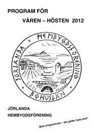 program för våren – hösten 2012 jörlanda hembygdsförening