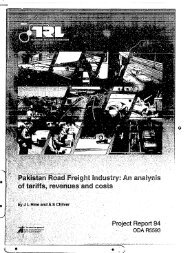 Pakistan Road Freight, tariffs, Revenues and Cost - Transport for ...