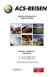 Zeitloses Abenteuer im südlichen Afrika Namibia ... - ACS-Reisen