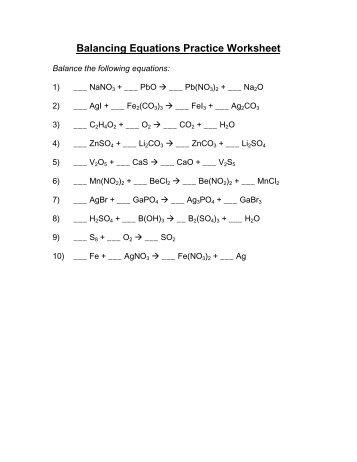 Balancing equations â Worksheet - Avon Chemistry