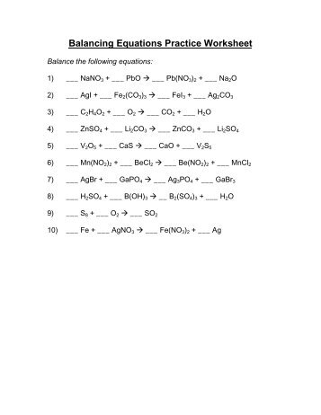 Balancing Equations Practice Worksheet Answers