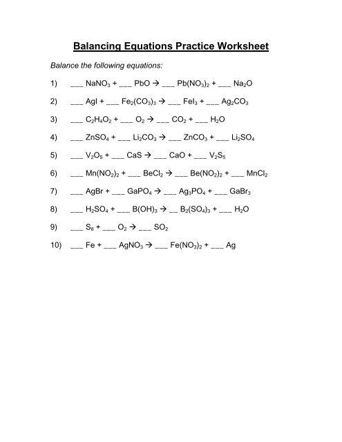 Balancing Equations Practice Worksheet