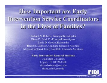Service Coordination - Early Intervention Research Institute - EIRI