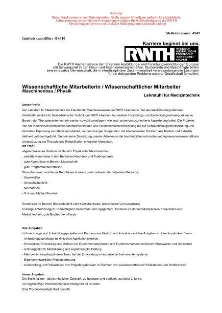 Wissenschaftliche Mitarbeiterin / Wissenschaftlicher Mitarbeiter