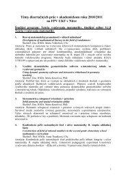 Témy dizertačných prác v akademickom roku 2010/2011 na FPV ...