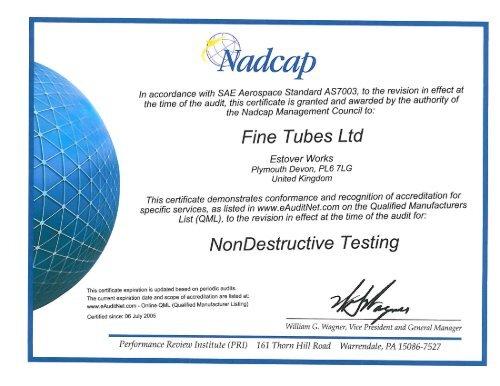 Nadcap NDT pdf - Fine Tubes Ltd