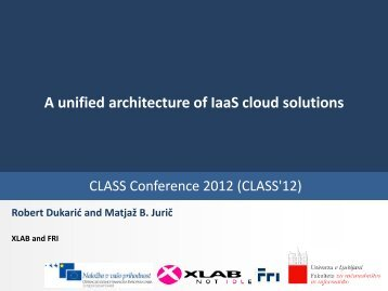 A unified architecture of IaaS cloud solutions - Cloud Assisted Services