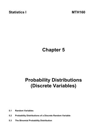 Chapter 5 Probability Distributions (Discrete Variables)