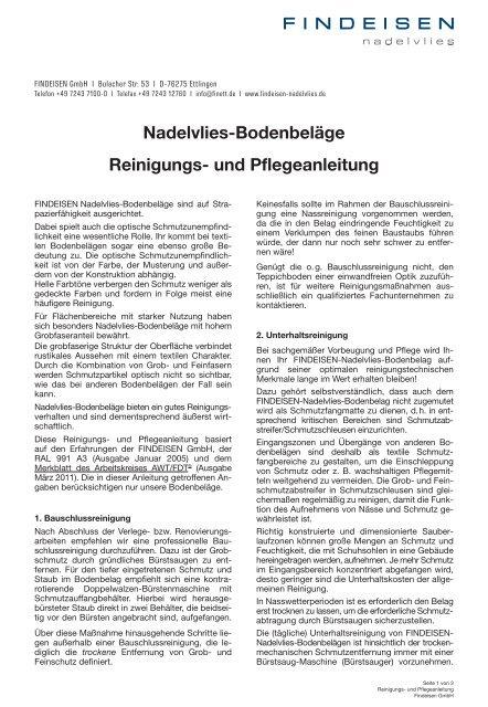 Nadelvlies-Bodenbeläge Reinigungs- und ... - Findeisen GmbH