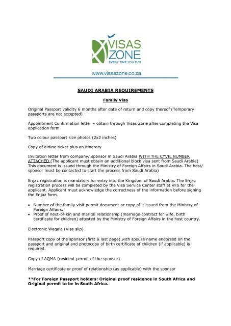 SAUDI ARABIA REQUIREMENTS Valid Passport     - Visas Zone