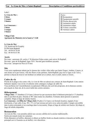 Var Le Lion de Mer, à Saint-Raphaël Description et ... - Ebizmed