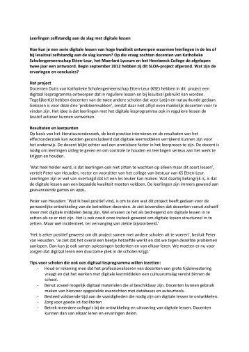 Resultaten en leerpunten - VO-raad