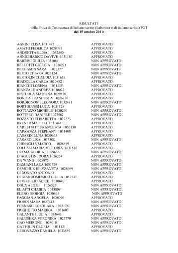 Risultati del 15 ottobre 2011 (DONATELLA RASI) - Lettere e Filosofia