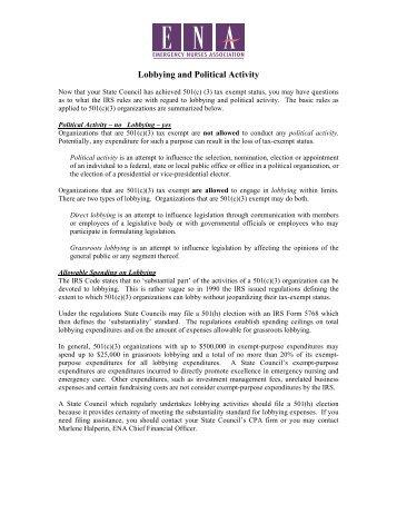 Lobbying and Political Activity - Emergency Nurses Association