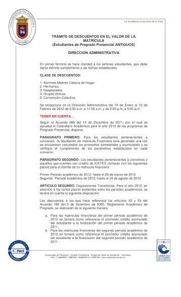 descuento valor matricula 2012 - Universidad de Pamplona