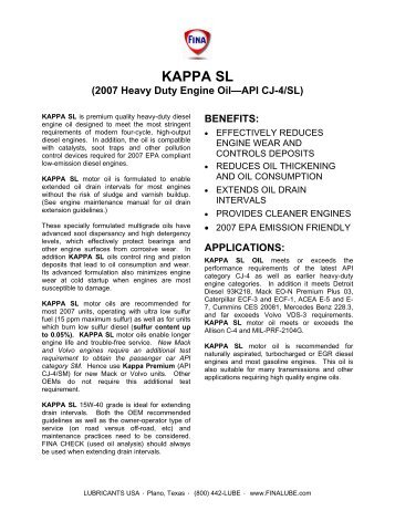 KAPPA SL (2007 Heavy Duty Engine Oil—API CJ-4/SL)