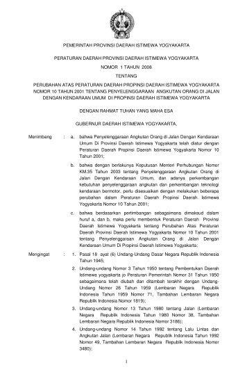 pemerintah provinsi daerah istimewa yogyakarta peraturan daerah ...