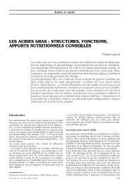 les acides gras : structures, fonctions, apports nutritionnels ...