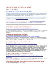 SOUTH AFRICA IN THE U.S. NEWS July 5 - 6, 2011