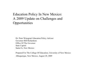 Education Policy In New Mexico: A 2009 Update on Challenges and ...
