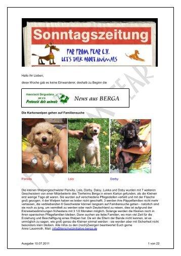 Ausgabe 10.07.2011 1 von 22 Hallo Ihr Lieben, diese Woche gab es ...
