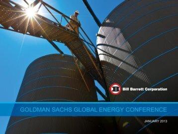 goldman sachs global energy conference - Bill Barrett Corporation