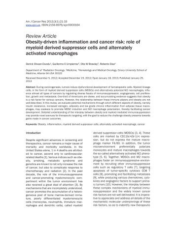 Obesity-driven inflammation and cancer risk - American Journal of ...