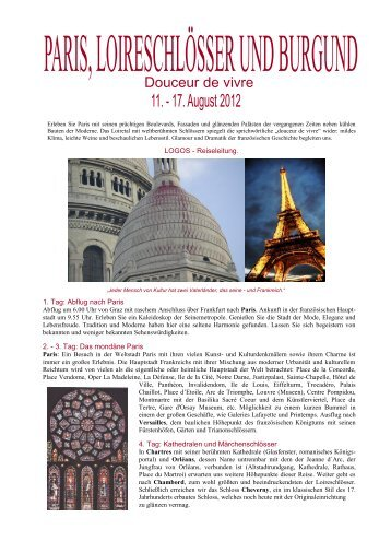 Reiseinformation Paris mit Loireschlössern und ... - Logos Reisen